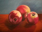 Juicy Pastels Posters - Still Life Apples Poster by Susan M Fleischer