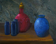Still Life Art Blue And Red Jugs And Bottles Print by Lenora  De Lude