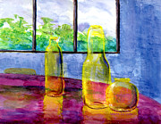 Blue Paintings - Still Life Art Bright Yellow Bottles and Blue Wall by Lenora  De Lude