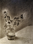 Still Life With Pitcher Drawings Prints - Still life Ceramic Pitcher with Three Sunflowers Print by Jose A Gonzalez Jr