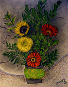 Gerbera Drawings - Still Life Ceramic Vase with Two Gerbera Daisy and Two Sunflowers by Jose A Gonzalez Jr