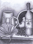 Wine Grapes Drawings Posters - Still Life Drawing Poster by Kamil Swiatek