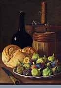 Glass Bottle Prints - Still Life - Figs and Bread Print by Pg Reproductions