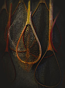 Salmon Digital Art Posters - Still life - fishing nets Poster by Jeff Burgess