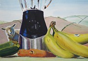 Vegetables Paintings - Still Life Fruit and Vegetables by Mike Jory