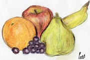 Vine Grapes Pastels Posters - Still Life - Fruit Poster by Bav Patel