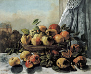Fruit Bowl Paintings - Still Life Fruit by Gustave Courbet