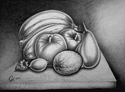 Strawberries Drawings Acrylic Prints - Still Life Fruits Acrylic Print by Owen Lafon