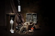Glass Bottle Metal Prints - Still Life - General Vintage Items Metal Print by Tom Mc Nemar