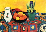 Interior Still Life Paintings - Still Life Hyacinths Carpet  by August Macke