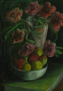 Food And Beverage Pastels Originals - Still Life in a Dark Room by Michael Anthony Edwards