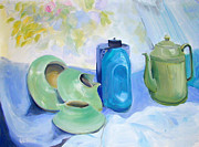 Pottery Paintings - Still life in blue and green pottery by Greta Corens