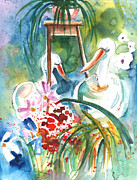 Republic Drawings Posters - Still Life in Cheb in The Cech Republic Poster by Miki De Goodaboom