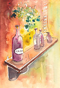 Wine Drawings - Still Life in Chianti in Italy by Miki De Goodaboom