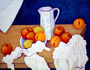 Madalena Lobao-tello Art - Still life in honor of Cezanne   by Madalena Lobao-Tello