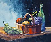 Fruit And Wine Metal Prints - Still Life in Watercolours Metal Print by Karon Melillo DeVega