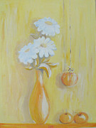 Flowers In White Vase Posters - Still life in  yellow Poster by Sladjana Vasic