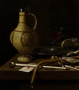 Smoker Metal Prints - Still Life Metal Print by Jan Jansz van de Velde
