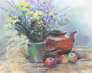 Apple Art Pastels Posters - Still life Poster by Julia Mikhailiuk