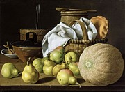 18th Century Paintings - Still-life  Melon and Pears by Pg Reproductions