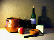 Merlot Photos - Still Life Merlot And Copper Pot by Frank Wilson