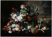 Still Life Of Flowers Art - Still Life of Flowers and Fruit by Severin Roesen