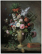 Lilac Tulip Flower Posters - Still Life of Flowers Poster by Louis Tessier