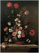 Ledge Painting Posters - Still-Life of Flowers on a Ledge Poster by Jacques-Samuel Bernard