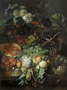 Peaches Painting Prints - Still Life of Fruit birds nest and basket of flowers Print by Jan Van Huysum