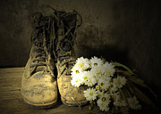 Shoe String Posters - Still Life Of Old Combat Boots Poster by Senee Sriyota