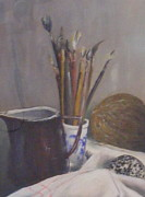 Still Life Jewelry Posters - Still life of paint brushes etc. Poster by Barbara Jacquin