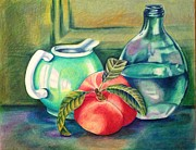 Pitcher Drawings Metal Prints - Still life of peach pitcher and decanter of water Metal Print by Julia Gatti