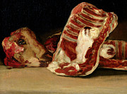 Food And Drink Paintings - Still Life of Sheeps Ribs and Head by Francisco Jose de Goya y Lucientes