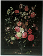 Beautiful Flowers Paintings - Still Life of Summer Flowers by Jan Van Kessel
