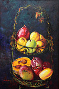 Mango Painting Originals - Still Life of Tropical Fruits Bodegon Tropical by Estela Robles Galiano
