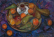 Still Life With Tangerines Posters - Still life on a tray Poster by Juliya Zhukova