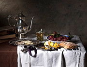 Heem Art - Still Life -Ontbijt- with oysters and bread by Levin Rodriguez