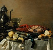 Pewter Paintings - Still Life by Pieter Claesz