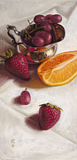 Strawberries Paintings - Still LIfe Reflections by Ron Crabb