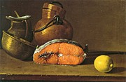 Salmon Paintings - Still-life  Salmon-Vessels- Lemon by Pg Reproductions