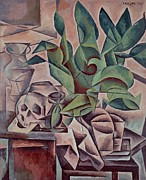 Cubism Art Framed Prints - Still life showing skull Framed Print by Kubista Bohumil