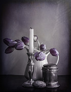 Still Life Study In Purple Print by Terry Rowe