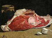 Food And Drink Paintings - Still Life the Joint of Meat by Claude Monet