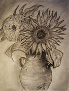 Clay Drawings Posters - Still Life Two Sunflowers in a Clay Vase Poster by Jose A Gonzalez Jr