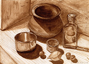 Nuts Paintings - Still Life Walnut Ink by Mukta Gupta