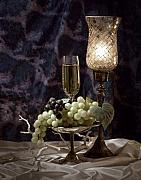 Wine Glass Posters - Still Life Wine with Grapes Poster by Tom Mc Nemar