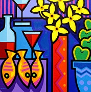 Glass Bottle Prints - Still Life With 3 Fish  Print by John  Nolan