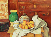 European Fruit Framed Prints - Still Life with a Chest of Drawers Framed Print by Paul Cezanne