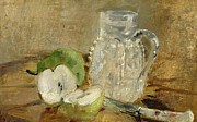Fruit Still Life Framed Prints - Still Life with a Cut Apple and a Pitcher Framed Print by Berthe Morisot