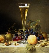 Vine Grapes Painting Posters - Still Life with a glass of champagne Poster by Johann Wilhelm Preyer